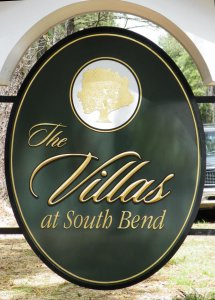 villas sign appliqued prismatic letters on hdu background with gold leaf from classic signs nc