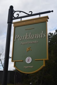 parklands_pvc_3d_apartments_sign side_fluted_post_custom_bracket_classic_signs_nc