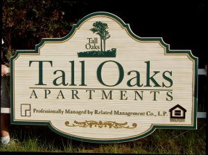 tall oaks sandblasted apartment sign classic signs nc