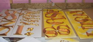 Gold And Varigated Metal Leaf Letters Classic Signs Nc