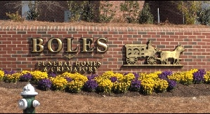 boles  funeral Homes prismatic 23kt gold leaf custom letters classic signs nc 299