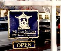 micasa custom sandblasted oriental style sign gold leaf on blue classic signs nc