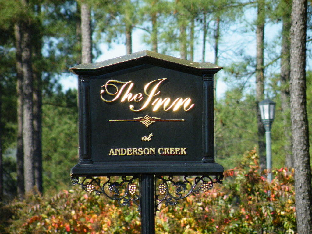 the inn anderson creek cast hdu sign with appliqued prismatic letters 23kt gold classic signs nc large 1024x768