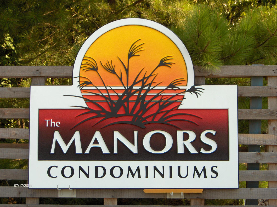manors condominiums sandblasted sign with color gradient classic signs nc 1059x792