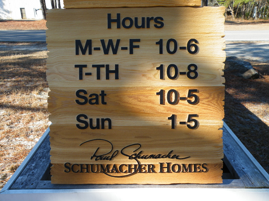 sandblasted cedar natural finish weathered edge schumacher hours classic signs nc 1024x704