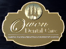 owen dental care dentist sign routed carved hdu 23kt gold leaf classic signs nc 220x163
