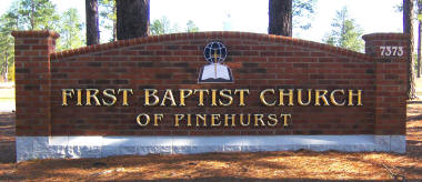 1st baptist church pinehurst 23kt gold leaf prismatic letters monument sign classic signs nc small