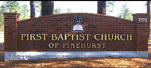 1st baptist church pinehurst 23kt goldleaf prismatic hdu letters on brick classic signs nc 300x169
