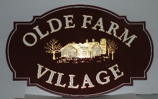 old farm village 2 custom sandblasted community sign 23kt gold leaf classic signs nc