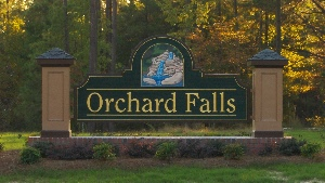 orchard falls main entrance sign hdu sandblasted 23kt gold classic signs nc 300x169