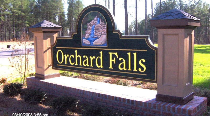 orchard falls main entrance sign hdu sandblasted 23kt gold classic signs nc 800x444