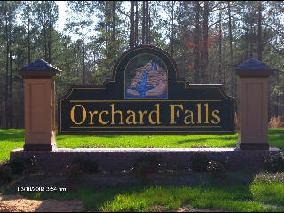 orchard falls sub division sandblasted community sign with gold leaf classic signs nc