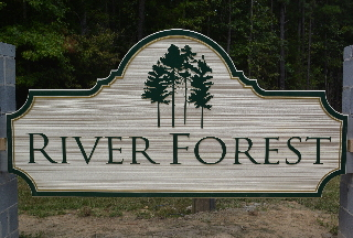 river forest sandblasted hdu community sign woodgrain effect classic signs nc 320x240