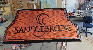 saddlebrook 3in deep sandblasted HDU sign with woodgrain effect 3 signblasters com 320x240