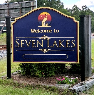 seven lakes welcome sandblasted carved riuted hdu sign classic signs nc320x240