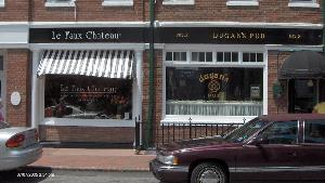 le faux chateau dugans custom shop letters gold white window vinyl classic signs nc 300x169