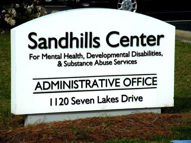 sandhills center custom cut pvc letters on HDU sign monument