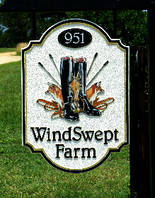 Windswept farm sandblasted hdu farm sign with hand painted emblem classic signs nc290x000