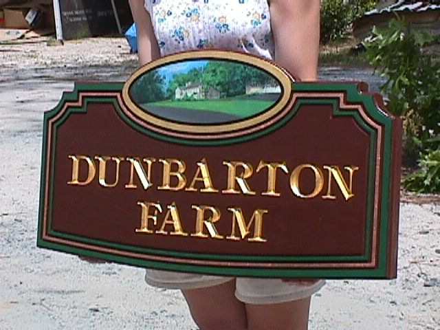 dunbarton farm custom routed sign 23kt gold letters hand painted farm house from classic signs nc