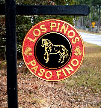 los pinos paso fino routed carved horse farm sign 23kt gold leaf c classic signs nc 220x180ish