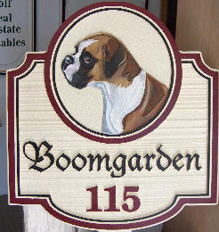 boomgarden sandblasted house home sign boxer dog painting classic signs nc 246x260