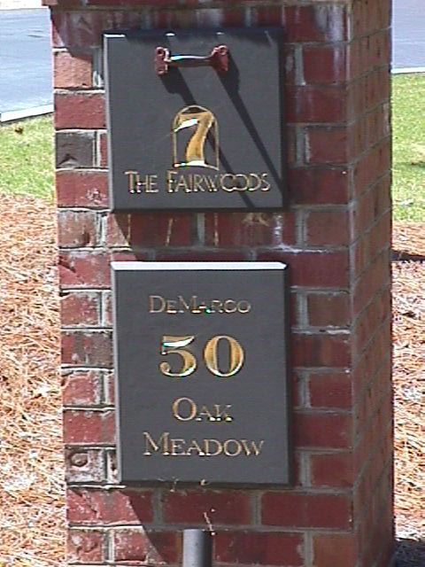 demarco routed column sign mailbox sign hdu from classic signs nc