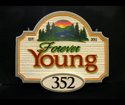 forever young 1 lakehouse sandblasted sign classic signs nc 426x360