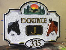 horse farm sign double J sandblasted hdu signblastersdotcom 220x180ish