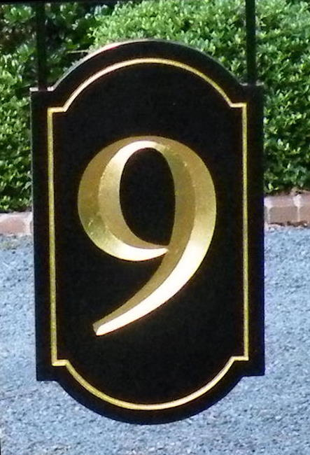 number 9 v grooved house sign and post finished in black and 23kt gold leaf from classic signs nc 443x650