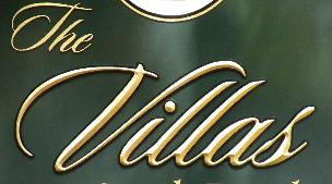Villas at VIR apartment sign appiqued prismatic letters on hdu background with gold leaf zoom from classic signs nc 300x169