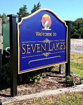 seven lakes community entrance sign 23kt gold prismatic letters classic signs nc 270x340