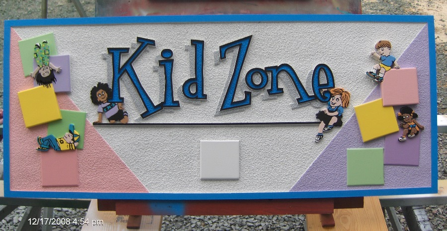 kid zone sandblasted hdu sign appliqued blocks painted kids classic signs nc 900x476