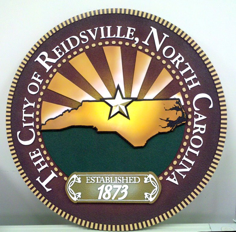 sandblasted hdu sign molded in 4pcs cast in solid polyester very hard reidsville city seal classic signs nc front 782x768