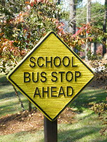 school bus stop sandblasted community sign classic signs nc 220x180ish