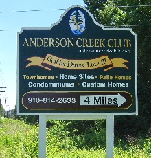 anderson creek club directional vinyl sign classic signs nc 220x180ish