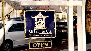 micasa custom sandblasted oriental  style sign gold leaf on blue classic signs nc 300x169