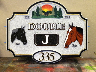 double j sandblasted horse farm sign 23kt gold leaf classic signs nc320x240
